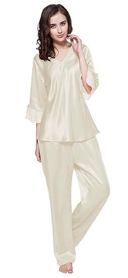 1d5bae472b LILYSILK Women s Silk Pyjamas Set Laced V Neck Long 22 Momme Pure Silk  Beige Size 8