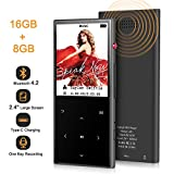 MP3 Player - Aomago 16GB Mp3 Player with Bluetooth 4.2 Built in Speaker, Sports Music Player Digital Audio with FM Radio Recorder Pedometer 2.4' Touch Screen, HiFi Lossless Sound Support up to 128G