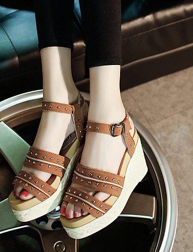 LFNLYX Zapatos de mujer-Tacón Cuña-Cuñas / Punta Abierta / Plataforma / Punta Redonda-Sandalias-Exterior / Casual-Semicuero-Negro / Amarillo / Black