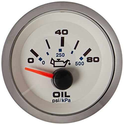 Sierra International 62542P White Premier Pro Scratch Resistant Electric Oil Pressure Gauge, 2