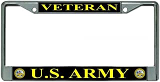 product image for flag connections U.S. Army Veteran Chrome License Plate Frame