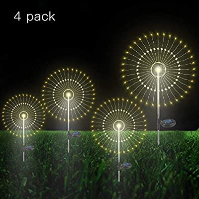 Luces de Jardín Solar, 105 LED Exterior Solares Fuegos Artificiales Luces, DIY Paisaje Decoración Luces Lmpermeable para jardín, césped, Patio(Blanco Cálido, 4 pack)…: Amazon.es: Iluminación