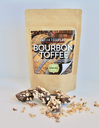 Amelia Toffee Bourbon - Buttery Toffee Mixed with St Augustine Distillery Bourbon Coated in Dark Chocolate and Sprinkled with Almonds and Sea Salt