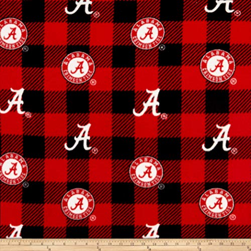 (Sykel Enterprises NCAA-Alabama 1190 Buffalo Plaid Fleece Multi, Fabric by the Yard )