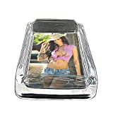 Cowgirls Pin Up Girls American Country USA S17 Glass Square Ashtray 4''x3'' Sturdy Cigarette Smoking Bar