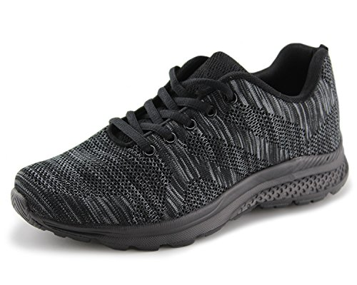 Jabasic Women's Breathable Knit Sports Running Shoes Casual Walking Sneaker (6 B(M) US, Black-1)
