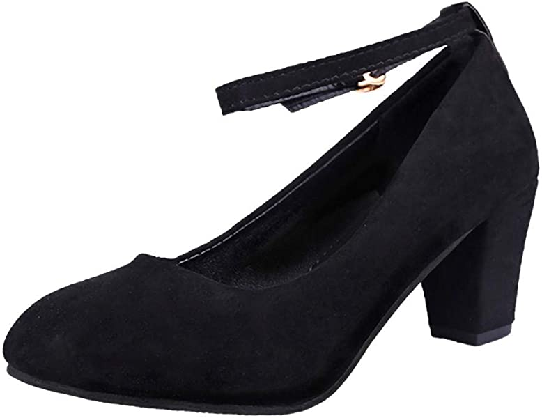 Modaworld Zapatos de Vestir Mujer Moda Zapatos de tacón Alto Antideslizante con Cabeza Redonda y Hebilla Sexy para Mujer Calzado Mujer de Trabajo de ...