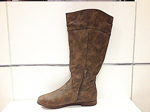 botte bottines femmes chaussures talon plate mode T901 TAUPE