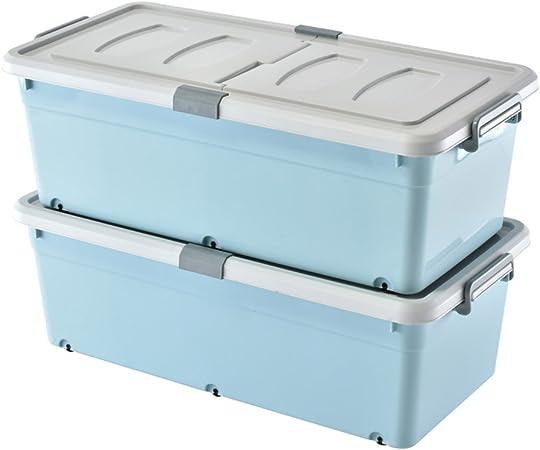 Caja de almacenamiento de plástico azul con ruedas y barandilla Un par de cajas alargadas de