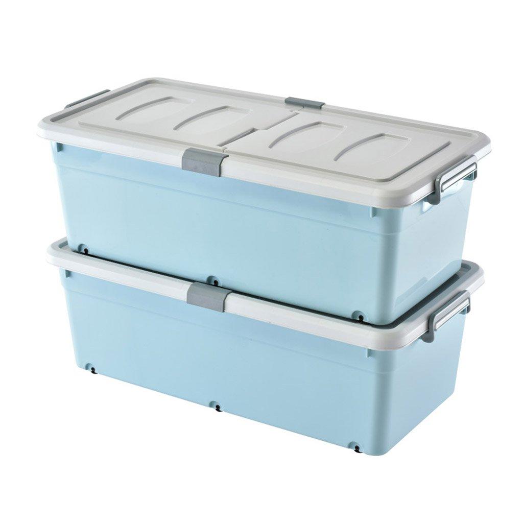 Caja de almacenamiento de plástico azul con ruedas y barandilla Un par de cajas alargadas de ropa y edredones de la caja de almacenamiento debajo de la cama ...
