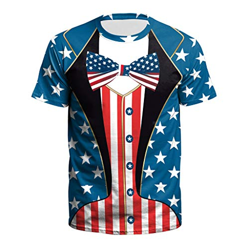 (TOPUNDER New USA Flag T-Shirt Men Sexy 3D T-Shirt Print Striped T Shirt Summer Tops Tees Blue )