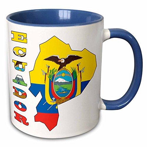 3dRose 51749_6 Ecuadorian Flag in the Map and Letters of Ecuador. Two Tone Mug, 11 oz, Blue