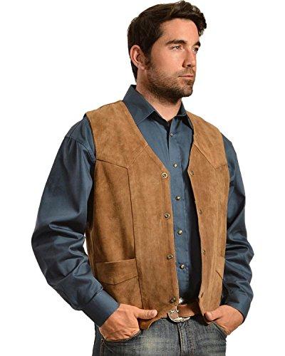 Liberty Wear Men's Suede Western Vest Brown (Classic Suede Vest)