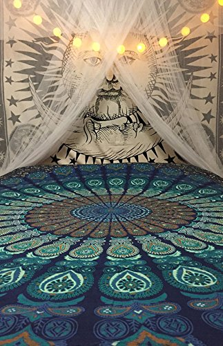 Beautiful Blue Peacock Mandala Tapestry By Bohomandala - A Perfect Hippie, Bohemian, Indian, Boho, Dorm, Hippy, Psychedelic, Wall Hanging.