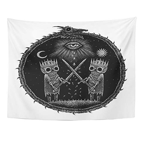 Emvency Tapestry Wall Hanging War of Kings Two Skeleton Warring Sword Against The God's Eye on Ancient Dragon 60