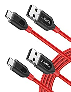 [2-Pack] Anker PowerLine+ USB-C to USB A 2.0 Cable, for Samsung Galaxy Note 8, S8, S8+, MacBook, Nintendo Switch, Sony XZ, LG V20 G5 G6, HTC 10, Xiaomi 5 and More ( 6ft) (Red)