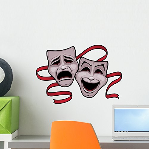 Wallmonkeys Comedy and Tragedy Theater Masks Wall Decal Peel and Stick Graphic WM187324 (18 in W x 14 in H)]()