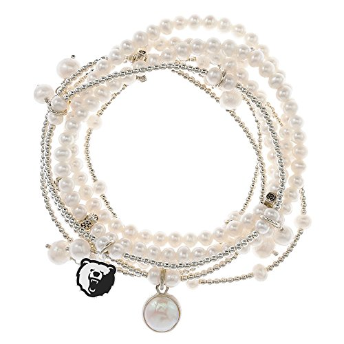 Morgan State Bears 7 Strand Freshwater Pearl and Silver Bracelet by College Jewelry