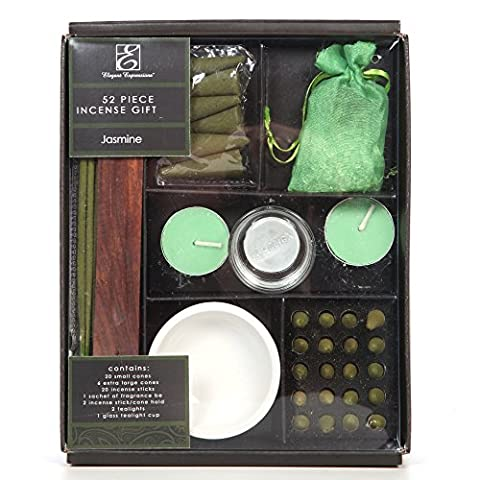 Aromatherapy Hosley Pack of 52 Pieces Highly Scented Jasmine Gift Set. Ideal Gift for Aromatherapy, Zen, Spa, Reiki Chakra Settings - Incense Set