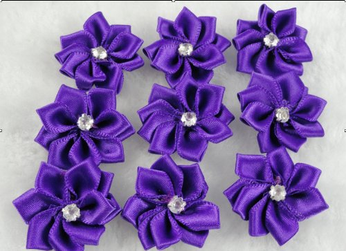 YAKA 60 Pcs Satin the Ribbon Flowers with the Appliques Craft DIY Wedding to Purple