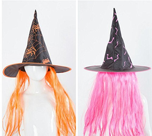 Amazon.com: Wanrane Cosy Birthday Party Decorations Halloween Wig Witch Hat Performance Props Cosplay Hat_Pink: Home & Kitchen