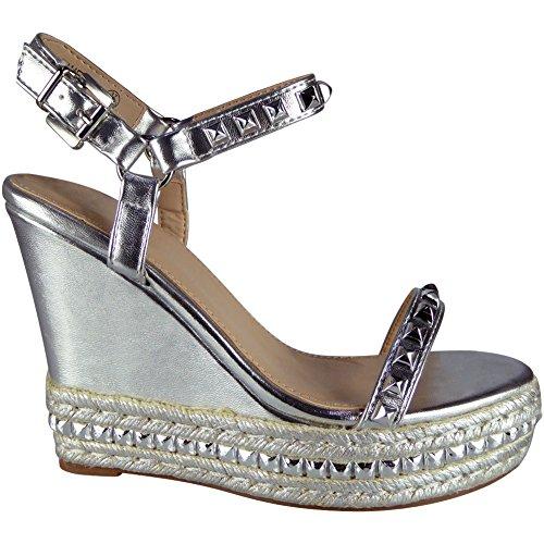 Platform Sandals 8 Ladies Strap Silver Espadrilles Ankle Studded Loud Look Size 3 Wedge 65YwqH8nPx