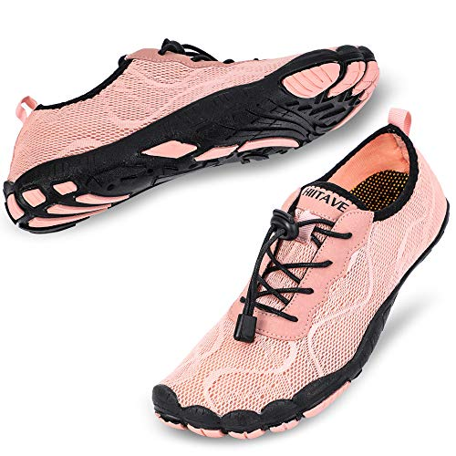 hiitave Women Water Shoes Trail Running Barefoot Beach Aqua Socks Quick Dry for Outdoor Sport Hiking Swiming Surfing Light Pink 7 M US Women