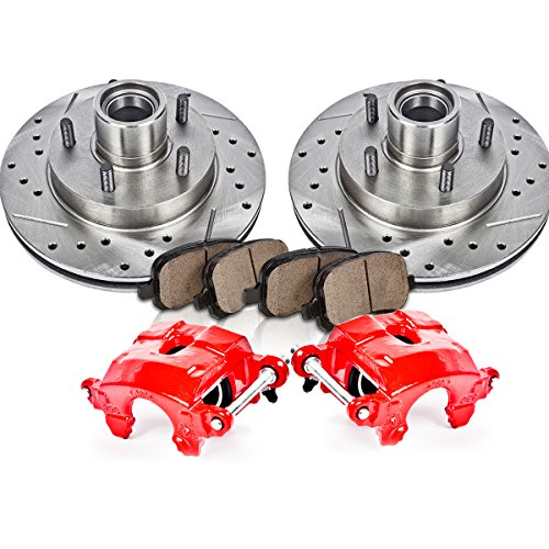 FRONT Powder Coated Red [2] Calipers + [2] Rotors + Quiet Low Dust [4] Ceramic Pads Performance Kit Brake Bleed Conversion Kit