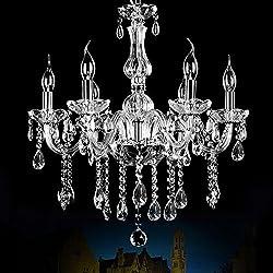 Boshen Vintage Elegant Crystal Candle Chandeliers 6 Lights Pendant Ceiling Fixture Lamp Lighting for Dining Room Living Room Decoration