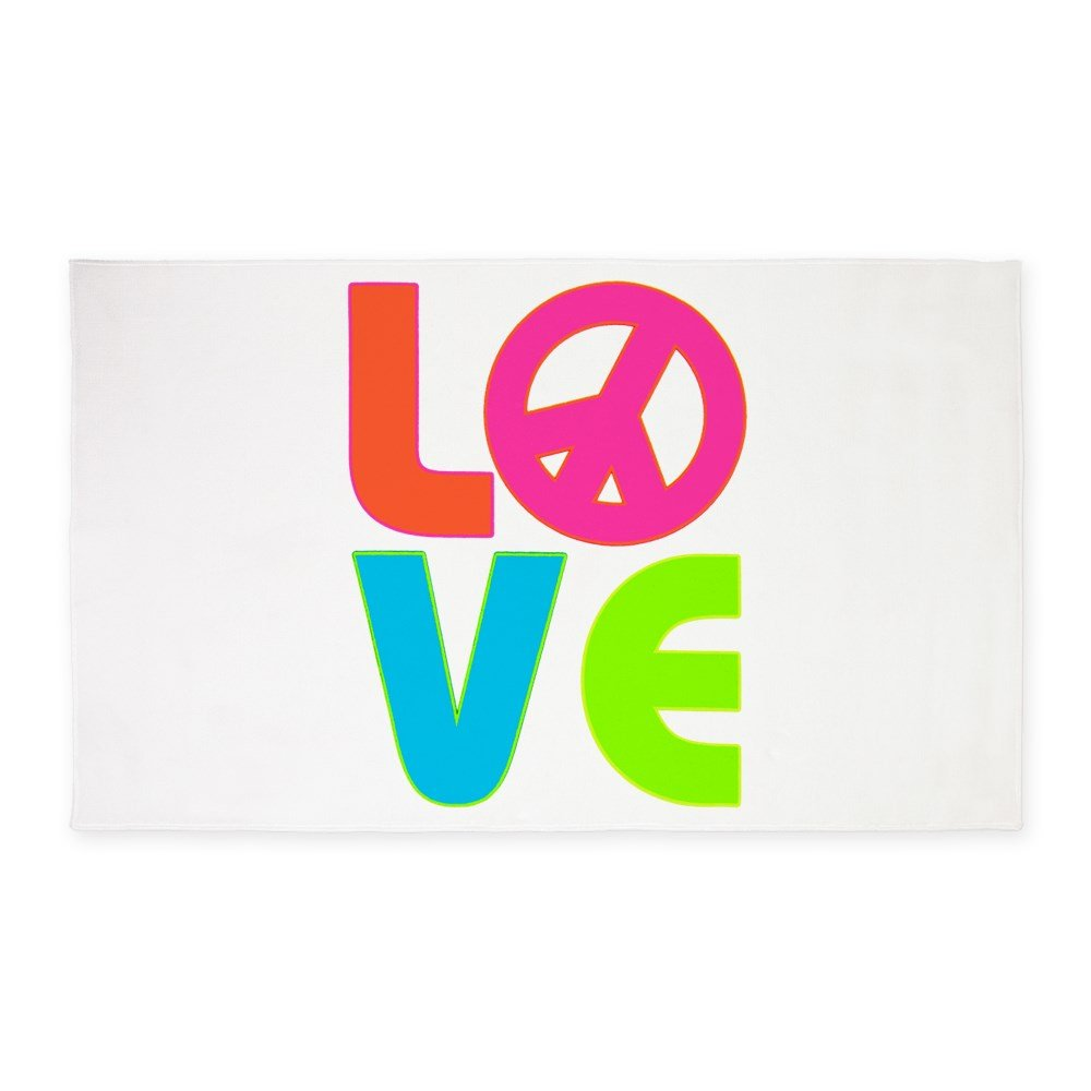 3' x 5' Area Rug Neon Love with Peace Symbol Sign