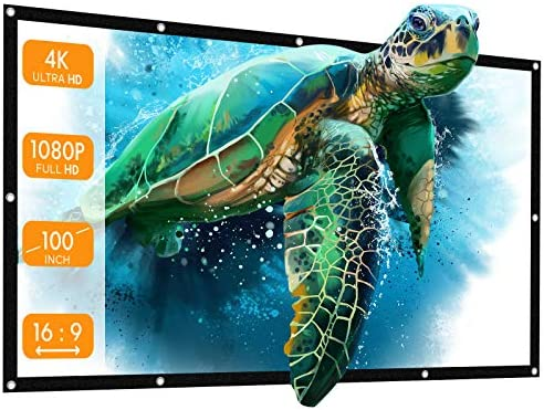 APEMAN 100 Inch 16:9 HD Foldable Projector Screen, Anti-Crease Portable Front & Rear Projection Movies Screen for Home Theater Outdoor Indoor Classroom Training[PS100]