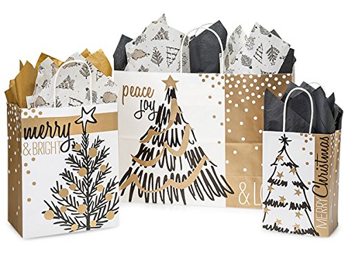 Christmas Holiday Gift Bag Assortment (Golden Holiday Trees) Gloss Paper Gift Bag