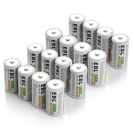 EBL C Cell 5000mAh Rechargeable Batteries, 16 Packs