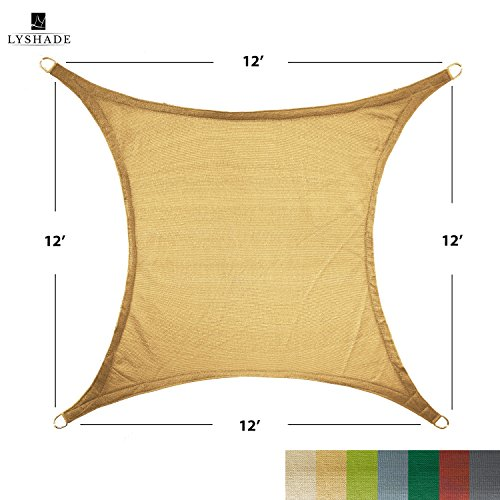 LyShade 12 x 12 Square Sun Shade Sail Canopy Sand – UV Block for Patio and Outdoor