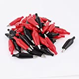 uxcell 50 x Red Black Insulated Electrical Alligator Clips 52mm for Test Work