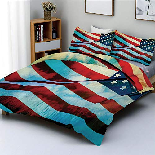 (Duplex Print Duvet Cover Set King Size,American Flag in The Wind on Flagpole Memorial Patriot History ImageDecorative 3 Piece Bedding Set with 2 Pillow Sham,Blue Red,Best Gift for Kids & Adult)
