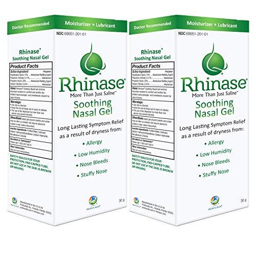 Rhinase Saline Nasal Gel (2 Pack) 1 oz Each - Allergy - Nosebleed - Low Humidity