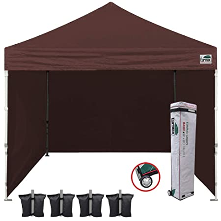 Eurmax 10 x10 Ez Pop-up Canopy Tent Commercial Instant Tent with 4 Removable Zipper End Side Walls and Roller Bag, Bonus 4 SandBags Brown