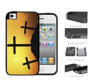 Three Crosses Silhouette And Sunset 2-Piece Dual Layer High Impact Rubber Silicone Cell Phone Case Apple iPhone 4 4s