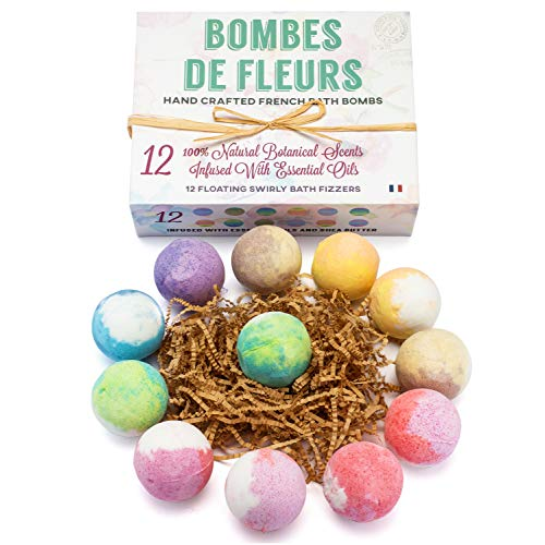 French Bath Bombs Best Gift for Women and Girls 12-100% all Natural - Fresh Fizzy Floral Essential Oils Scents - Rose Lavender Mint Chamomile + Shea Butter + Aloe Best Vegan Spa Day Kit (Dozen) -