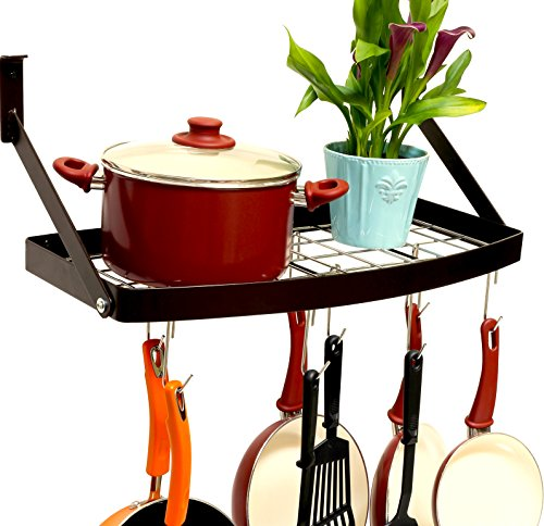 DecoBros Wall Mount Square Grid Pot Pan Rack includes 8 hooks, 25 by 12-inch,Bronze ()