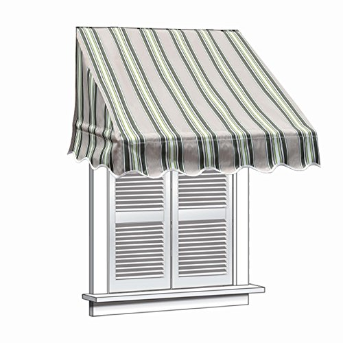 ALEKO WAW8X2MSTRGR58 Window Canopy Awning 8 x 2 Feet Multi-Stripe Green For Sale