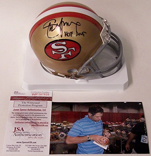Steve Young Autographed Hand Signed San Francisco 49ers Throwback Mini Football Helmet - with Hall of Fame 2005 Inscription - (Steve Young Hand Signed)