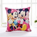 AM 2 Pc Kids Pink Peach Mickey Mouse Throw Pillow Case Set, Yellow Walt Minnie Cushion Cover Animal Bow Love Heart Star Stripe Cute TV Children Cartoon, Linen