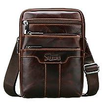 Sunmig Mens Vintage Genuine Leather Shoulder Bag Messenger Bags