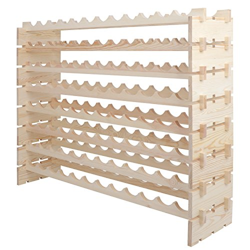 Smartxchoices 96 Bottle Stackable Modular Wine Rack Wooden Wine Storage Rack Free Standing Wine Holder Display Shelves, Wobble-Free, Solid Wood, (8 Row, 96 Bottle Capacity) (96 Bottle) by Smartxchoices (Image #3)