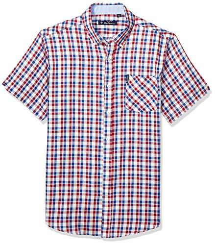 Ben Sherman Men's SS Oxford Check Shirt, Ruby M