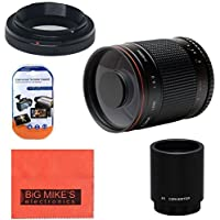 High-Power 500mm f/8.0 Telephoto Mirror Lens + 2x (doubles the zoom to 1000mm) for Nikon D90, D3000, D3100, D3200, D3300, D5000, D5100, D5200, D5300, D7000, D7100, D300, D300s, D600, D610, D700, D800, D800e, D810