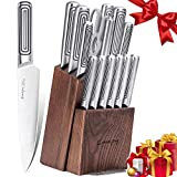 Knife Set, 15-Piece Kitchen Knife Set with Block Wooden and Sharpener Stainless Steel Hollow Handle for High Carbon German Stainless Steel Knife Block Set,Emojoy