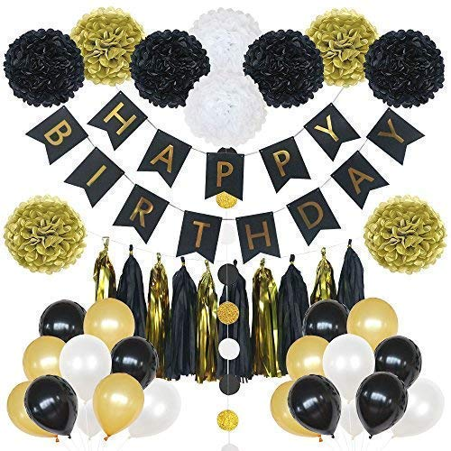 85 Pieces Birthday Party Decoration Set in Gold and Black- includes Happy Birthday Banner, 20 Party Balloons, 10 Paper Pom Poms, 10 Tassels and 32 Round Paper Garland Perfect For Any Birthday Party -
